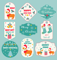 Set of holiday badges and tags with cute dogs vector