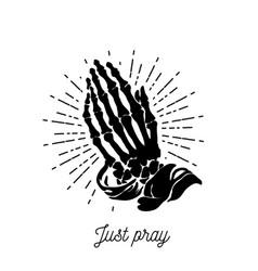 - praying skeleton hands vector