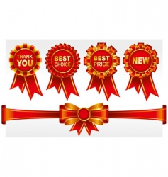 badges with ribbons vector image