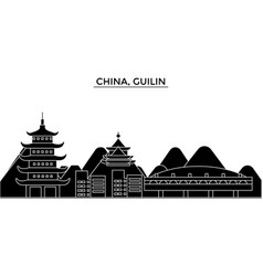 china guilin architecture urban skyline with vector image