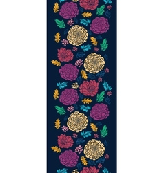 Colorful vibrant flowers on dark vertical seamless vector image vector image