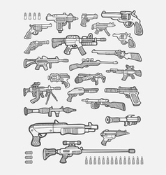 Gun icons sketches vector