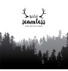 seamless coniferous forest border vector image vector image