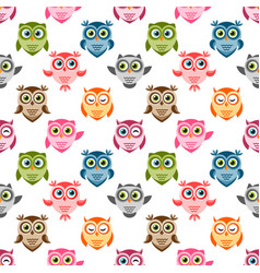 seamless pattern with cute colorful owls and vector image vector image