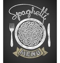 Spaghetti menu drawn on chalkboard vector image