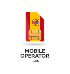 Spain mobile operator sim card with flag vector
