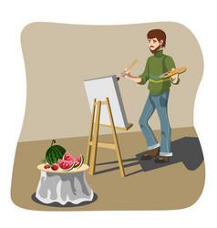 artist drawing still life vector image vector image