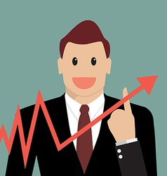 Businessman pointing at growth graph vector