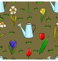 cartoon gardening seamless pattern with spring vector image