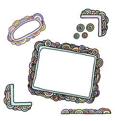 doodle circles frames vector image vector image