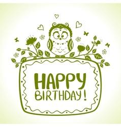 Owl birthday vector image