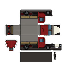 paper model of an old truck vector image vector image