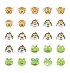 smiley flat icons set 31 vector image