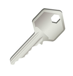 3d realistic metal key icon design vector