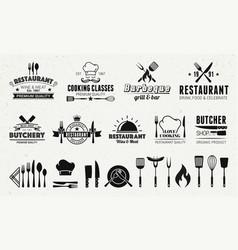 9 vintage logo templates and 19 design elements vector image
