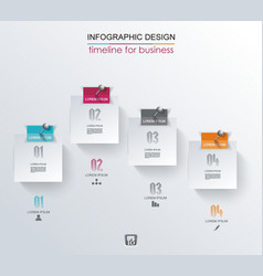 Abstract white paper stickers infographics with vector