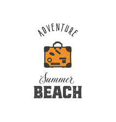 adventure - summer beach vintage style print vector image