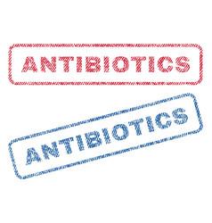 Antibiotics textile stamps vector