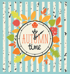 autumn banner with clock and fall leaves vector image
