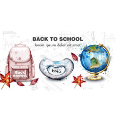 back to school card with watercolor satchel alarm vector image