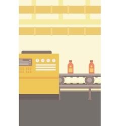 Background of conveyor belt with bottles vector