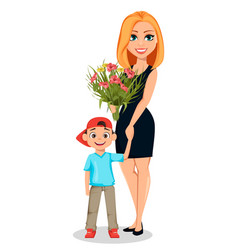 beautiful woman holds hand of her little son vector image