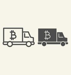 Bitcoin car line and glyph icon crypto van vector