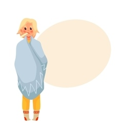 Blond young woman having flu with thermometer in vector image