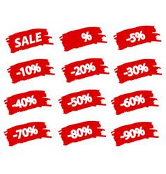 brushstroke sale red set offer discount tag vector image