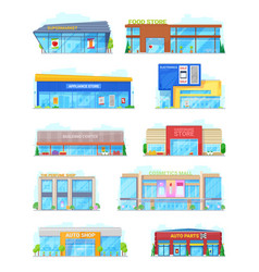 Buildings for shopping in city or town isolated vector
