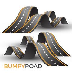 bumpy road icon uneven dangerous wave path vector image