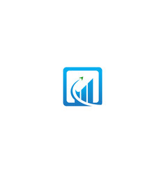 business grow square line logo vector image