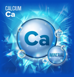 Ca calcium mineral blue pill icon vitamin vector