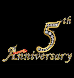 Celebrating 5th anniversary golden sign vector