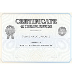 Certificate of completion template silver vector
