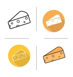 Cheese flat design linear and color icons set vector
