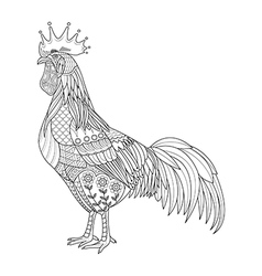 Chicken stylized for coloring book for adult vector