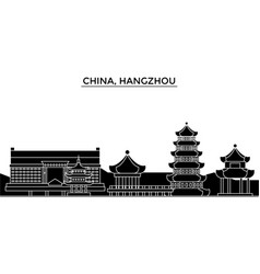 china hangzhou architecture urban skyline with vector image