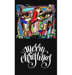 Christmas greeting card with digital painting vector
