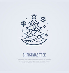 christmas tree new year pine flat line icon vector image