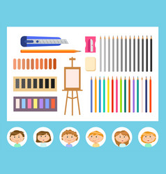 Classmates and supplies for drawing art lessons vector