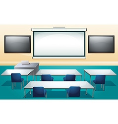Classroom with screens and tables vector
