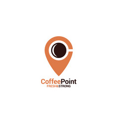 Coffee point logo with coffee cup and location vector