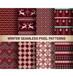 Collection of pixel bright seamless patterns vector