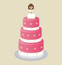 Communion cake for girl vector