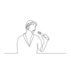 continuous one line woman with a microphone in her vector image