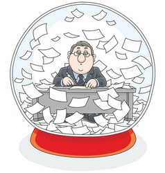 Crystal ball with a clerk and papers inside vector