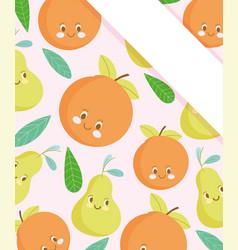 cute food pattern design fresh cute orange and vector image
