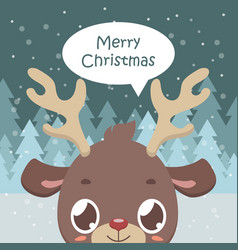 Cute reindeer greeting with snowy background vector