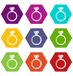 diamond engagement ring icons set 9 vector image